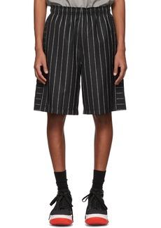 Alexander Wang Black Wool Jacquard Logo Shorts
