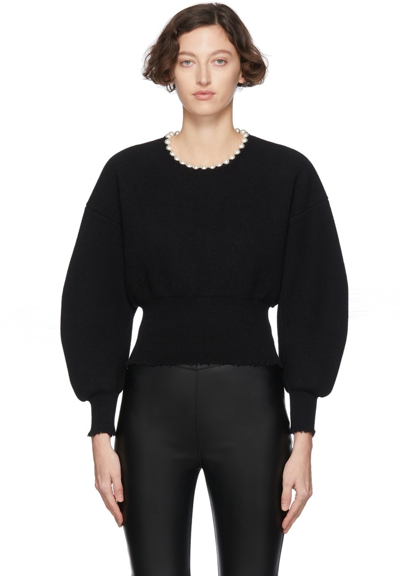 Alexander Wang Black Wool Pearl Necklace Pullover