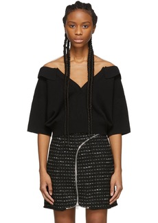 Alexander Wang Black Wool Tulle Illusion Polo Sweater