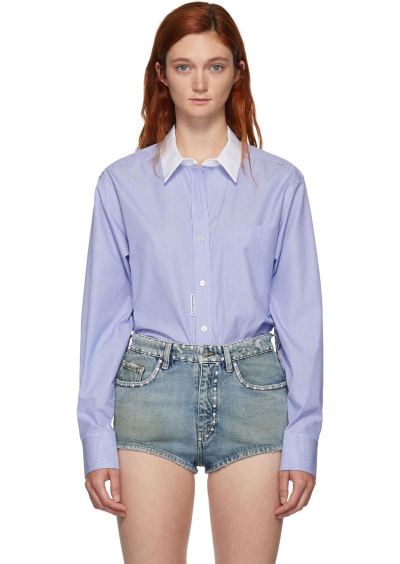 Alexander Wang Blue & White Button Down Bodysuit