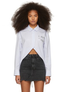 Alexander Wang Blue & White Open Front Shirt