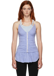 Alexander Wang Blue & White Ruched Zipper Tank Top