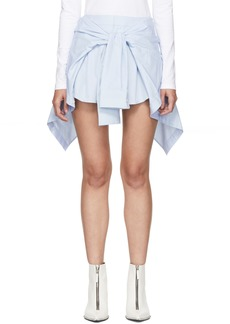 Alexander Wang Blue & White Striped Front Tie Skort