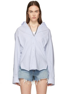 Alexander Wang Blue & White Striped Open Neck Chain Shirt