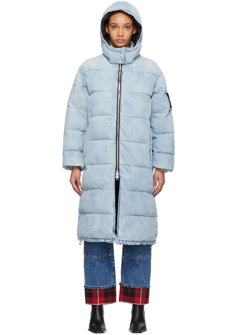 Alexander Wang Blue Bleached Denim Long Puffer Jacket