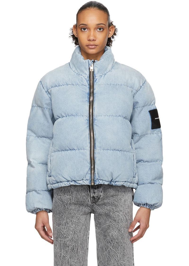 Alexander Wang Blue Bleached Denim Puffer Jacket