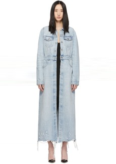 Alexander Wang Blue Denim Fitted Trench Jacket