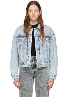 Alexander Wang Blue Denim Padded Trucker Jacket