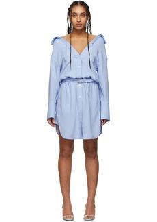 Alexander Wang Blue Shrugged Off Shirt Dress