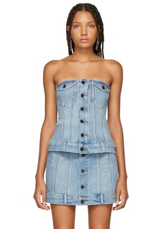 Alexander Wang Blue Strapless Denim Top