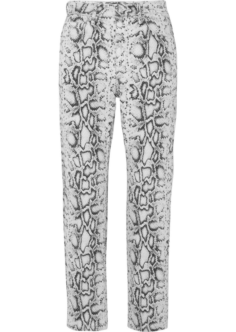 Alexander Wang Bluff Snake-print High-rise Straight-leg Jeans