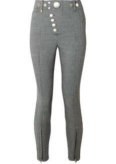 Alexander Wang Button-embellished Houndstooth Woven Skinny Pants