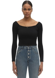Alexander Wang Chain & Off-the-shoulder Knit Nylon Top