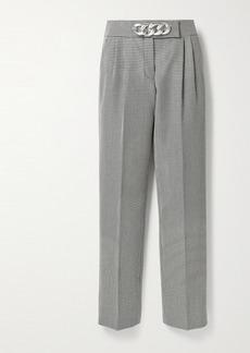 Alexander Wang Chain-embellished Houndstooth Wool-blend Straight-leg Pants