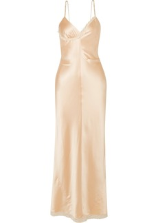 Alexander Wang Chain-embellished Lace-trimmed Silk-charmeuse Midi Dress