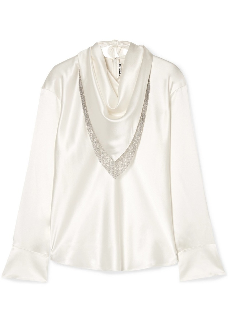 Alexander Wang Chain-embellished Silk-satin Blouse