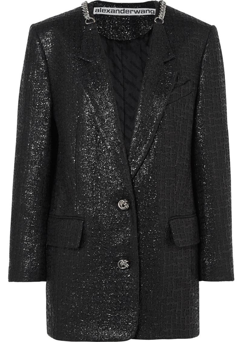 Alexander Wang Chain-trimmed Coated Cotton-blend Tweed Blazer