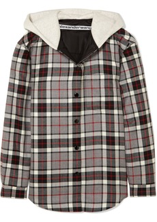 Alexander Wang Checked Wool-flannel And Cotton-jersey Jacket