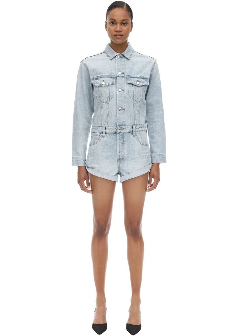 Alexander Wang Cotton Denim Short Jumpsuit