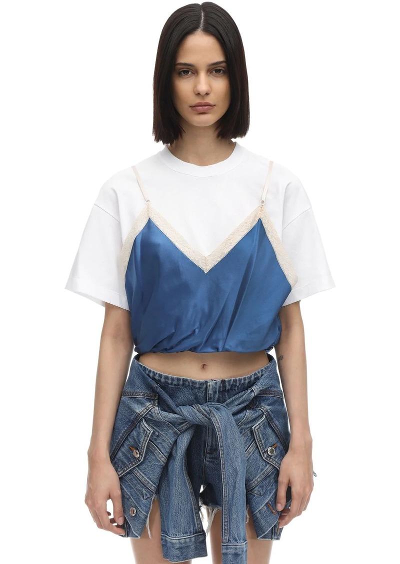Alexander Wang Cotton Jersey T-shirt W/ Silk Camisole