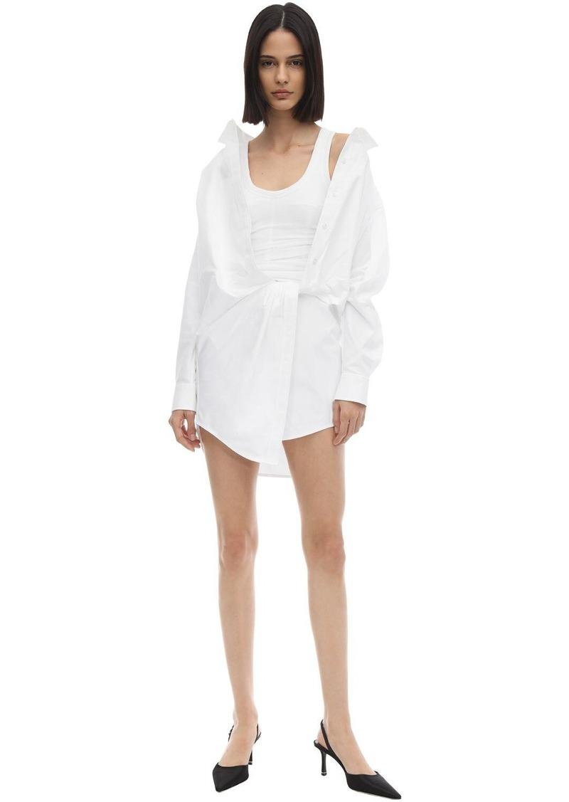 Alexander Wang Cotton Poplin Dress W/ Jersey Corset