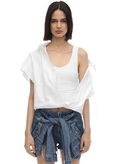 Alexander Wang Cotton Poplin Shirt W/ Jersey Corset