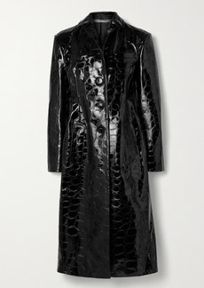 Alexander Wang Croc-effect Patent-leather Coat