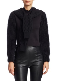 Alexander Wang Cropped Cable Knit Tie Mockneck Sweater