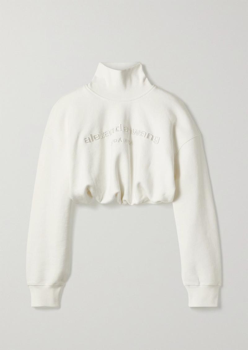 Alexander Wang Cropped Embroidered Cotton-jersey Turtleneck Sweatshirt