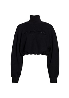 Alexander Wang Cropped Embroidered Mockneck Sweatshirt
