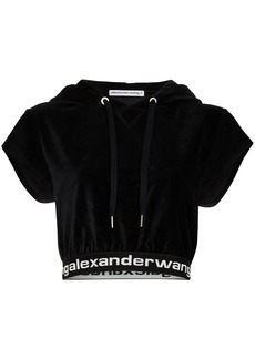 Alexander Wang cropped logo-trim hoodie