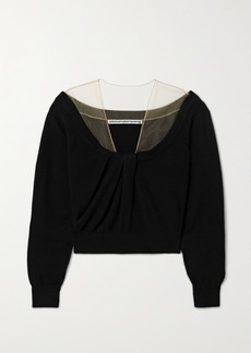 Alexander Wang Cropped Tulle-trimmed Wool-blend Sweater