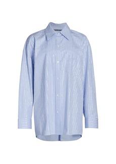 Alexander Wang Crystal Hotfix Long Sleeve Button Down Shirt