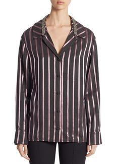 Alexander Wang Crystal-Trim Striped Pajama Top