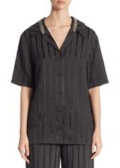 Alexander Wang Crystal-Trim Striped Short-Sleeve Pajama Top