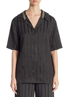 Alexander Wang Crystal-Trim Striped Short-Sleeve Pajama Top