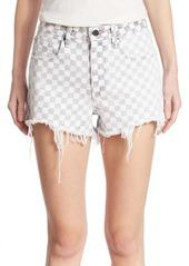 Alexander Wang Denim Bite Frayed Hem Checkered Shorts