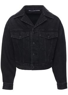 Alexander Wang Draped Sleeves Cotton Denim Jacket
