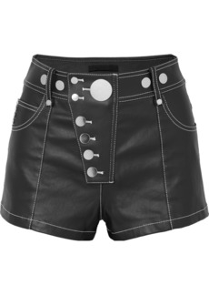 Alexander Wang Embellished coated-denim shorts