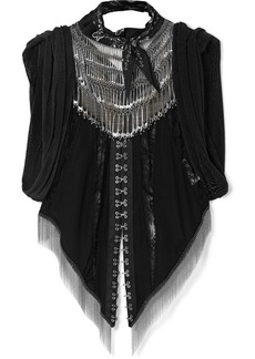 Alexander Wang Embellished Lace-paneled Silk-georgette And Chainmail Top