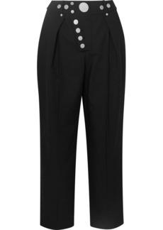 Alexander Wang Embellished Pleated Twill Straight-leg Pants