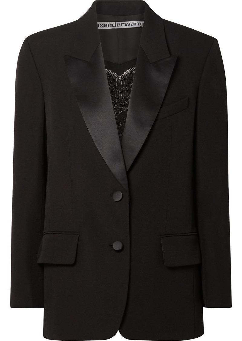 Alexander Wang Embellished Silk Satin-trimmed Wool Blazer
