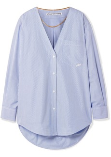 Alexander Wang Embellished Striped Cotton-poplin Shirt