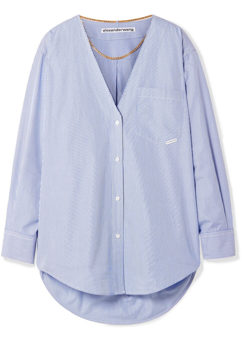Alexander Wang Embellished Striped Cotton-poplin Shirt