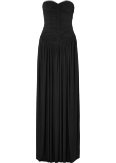 Alexander Wang Eyelet-embellished Ruched Stretch-jersey Gown