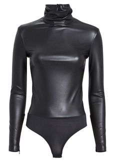 Alexander Wang Faux Leather Mock Neck Bodysuit