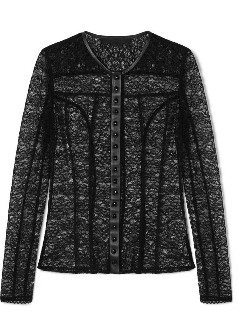 Alexander Wang Faux Leather-trimmed Stretch-lace Top