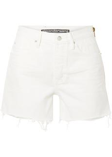 Alexander Wang Float Zip-embellished Frayed Denim Shorts