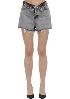Alexander Wang Fold-over Cotton Denim Shorts