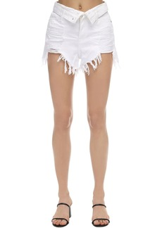 Alexander Wang Fold-over Distressed Cotton Denim Shorts